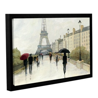 ArtWall Avery Tillmon's Eiffel In The Rain Marsala Umbrella, Gallery Wrapped Floater-framed Canvas