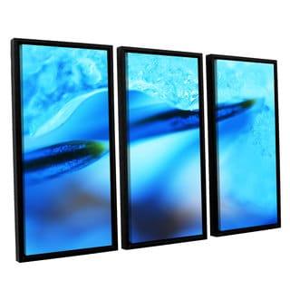 ArtWall Sydney Schardt's Blue Ice Floe, 3 Piece Floater Framed Canvas Set