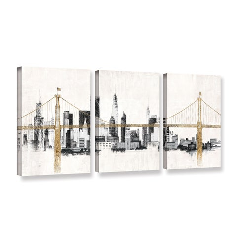 Avery Tillmon's 'Bridge And Skyline' 3-piece' Gallery Wrapped Canvas Set