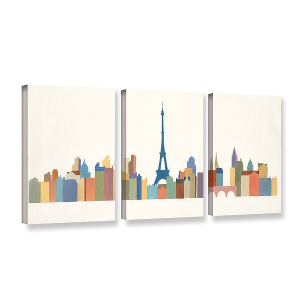 Avery Tillmon's 'Eiffel Skyline 2' 3-piece' Gallery Wrapped Canvas Set