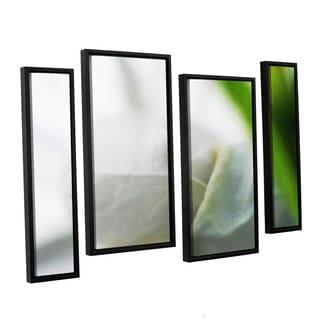 ArtWall Sydney Schardt's White Petal, 4 Piece Floater Framed Canvas Staggered Set