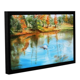 ArtWall Sylvia Shirilla's Swan At Crandall Park, Gallery Wrapped Floater-framed Canvas