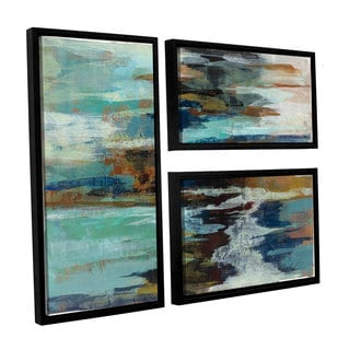 ArtWall Silvia Vassileva's Glacier Edge, 3 Piece Floater Framed Canvas Flag Set