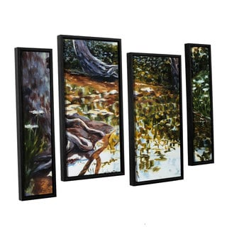 ArtWall Sylvia Shirilla's Reflections In Stream, 4 Piece Floater Framed Canvas Staggered Set