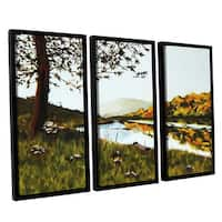 ArtWall Sylvia Shirilla's River Scene, 3 Piece Floater Framed Canvas Set