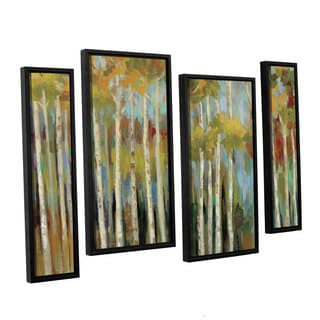 ArtWall Silvia Vassileva's Young Forest, 4 Piece Floater Framed Canvas Staggered Set