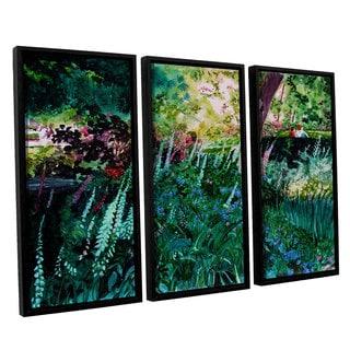 ArtWall Sylvia Shirilla's Foxgloves At Mill Creek, 3 Piece Floater Framed Canvas Set