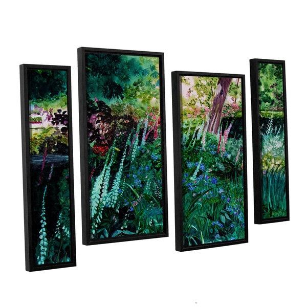 ArtWall Sylvia Shirilla's Foxgloves At Mill Creek, 4 Piece Floater Framed Canvas Staggered Set