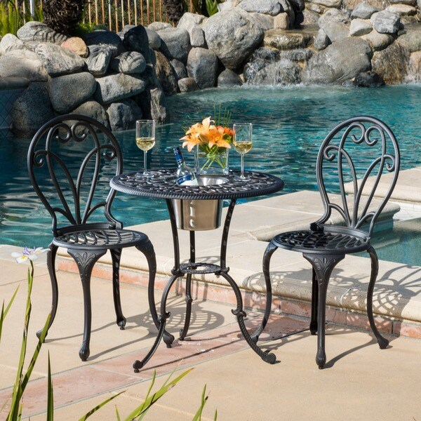 Outdoor Thomas Cast Aluminum Dark Gold 3 Piece Bistro Set With Ice Bucket By Christopher