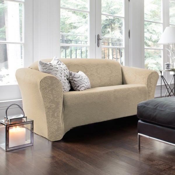 QuickCover Damask Embossed Stretch 1-Piece Sofa Slipcover. Opens flyout.