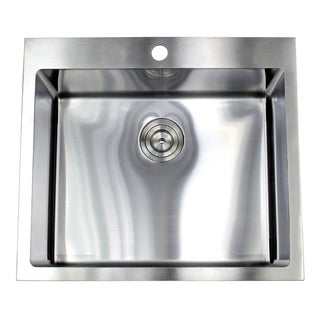 25-inch Top-mount Stainless Steel Single Bowl Island Bar Sink (15mm Radius) - Silver