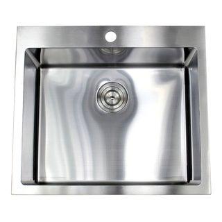 25-inch Top-mount Stainless Steel Single Bowl Island Bar Sink (15mm Radius)