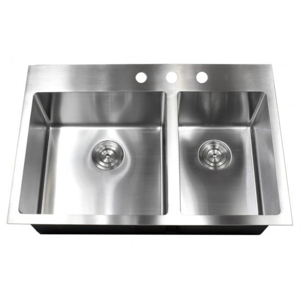 33 Inch Top Mount Drop In Stainless Steel Double Bowl 60