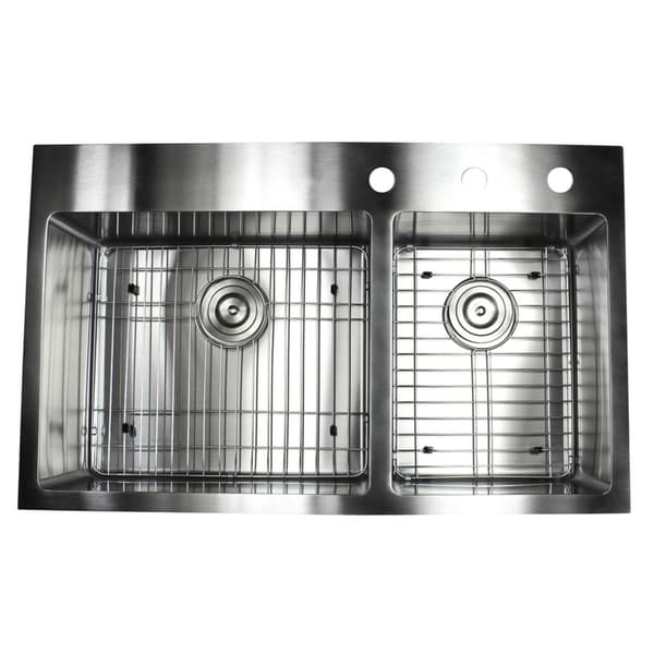 Shop 33-inch Top-mount Drop-in Stainless Steel Double Bowl 60/40 ...