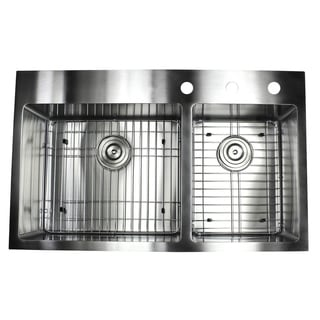 33-inch Top-mount Drop-in Stainless Steel Double Bowl 60/40 Kitchen Sink (15 mm)