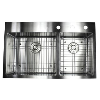 33-inch Top-mount Drop-in Stainless Steel Double Bowl 60/40 Kitchen Sink (15 mm) - Silver