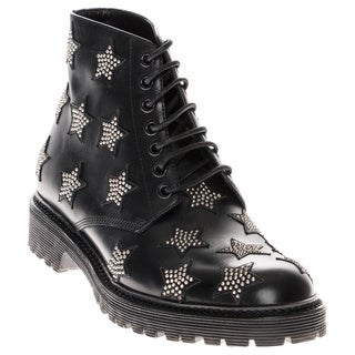 Saint Laurent Studded Star-Patterned Leather Lace-Up Boots