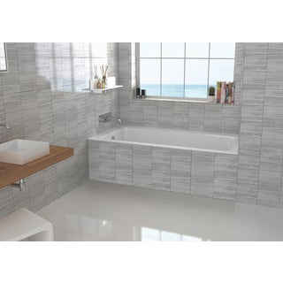 "Left-side Fixed Grey Tile Flange Alcove Bathtub (32"" x 66"")"