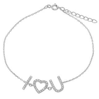 Journee Collection Sterling Silver Cubic Zirconia 'I Heart U' Bracelet