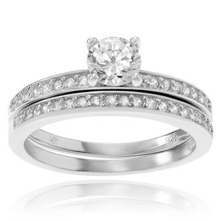 Journee Collection Sterling Silver Cubic Zirconia Round Cut Bridal Ring Set