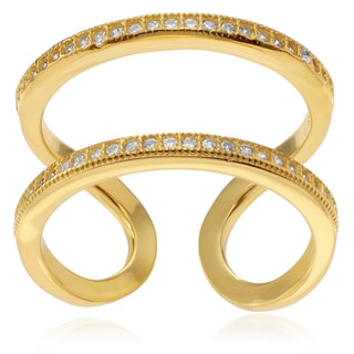 Journee Collection Gold-plated Sterling Silver CZ Open Double Row Ring