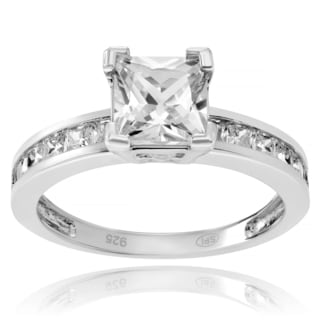 Journee Collection Sterling Silver Cubic Zirconia Emerald Cut Engagement Ring