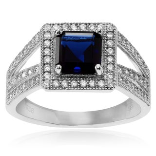Journee Collection Sterling Silver Cubic Zirconia Square Halo Ring