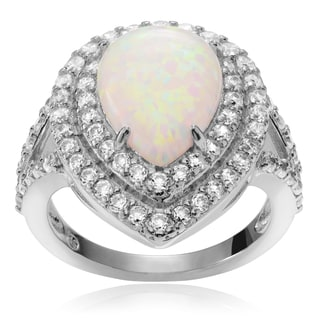 Journee Collection Sterling Silver Cubic Zirconia Opal Teardrop Halo Ring