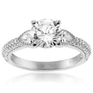 Journee Collection Sterling Silver Round Cut CZ Engagement Ring