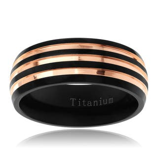 Territory Men's Titanium Rose Goldplated Two-tone 8 mm Two-tone Striped Wedding Band|https://ak1.ostkcdn.com/images/products/11098066/P18103504.jpg?impolicy=medium