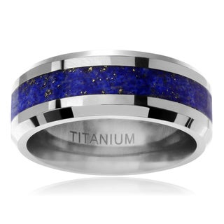 Territory Men's Titanium 8 mm Two-tone Blue Speck Inlaid Band