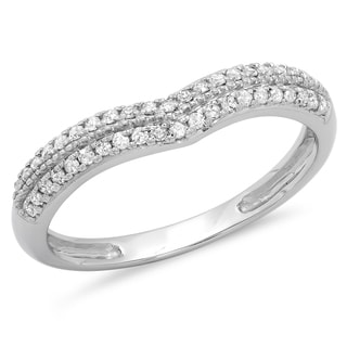 Elora 10k White Gold 1/4ct TDW Round White Diamond Double Row Curved Anniversary Wedding Ring