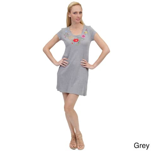 La Cera Women's Embroidered Knit Dress