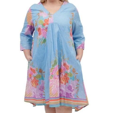 La Cera Women's Plus Size 3/4 Sleeve Print Dress
