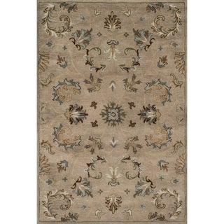 Hand-tufted Wilson Floral Camel/ Moss Wool Rug (9' x 12')