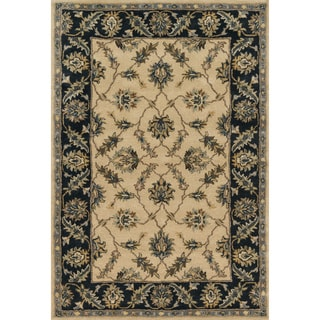 Hand-tufted Wilson Floral Ivory/ Navy Wool Rug (9' x 12')