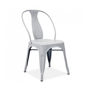 Sake Stackable Glossy Silver Steel Side Chair (Set of 4)