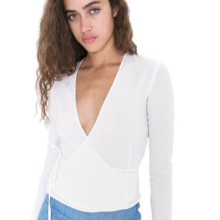 American Apparel Women's Crepe Wrap V-neck Top