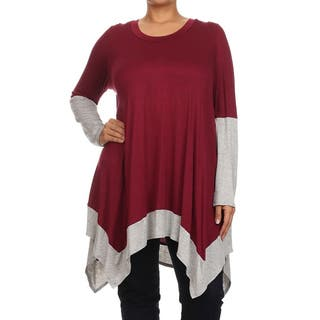 MOA Collection Plus Size Women's Color Block Top|https://ak1.ostkcdn.com/images/products/11098309/P18103665.jpg?impolicy=medium