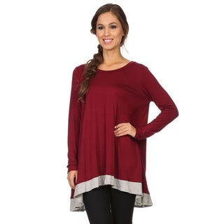 MOA Collection Women's Long Sleeve Colorblock Tunic
