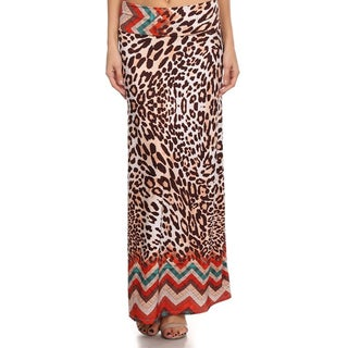 MOA Collection Women's Leopard Print Maxi Skirt