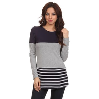 Moa Collection Women's Colorblock Top with Stripes