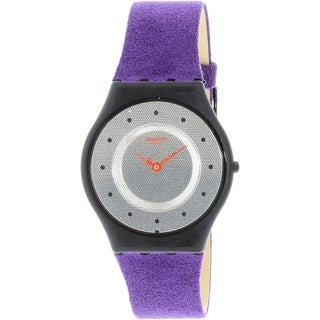 Swatch Women's Skin SFB144 Purple Leather Quartz Watch