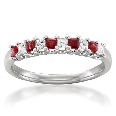 Montebello 14KT White Gold Ruby and 1/5ct TDW Diamond Wedding Band