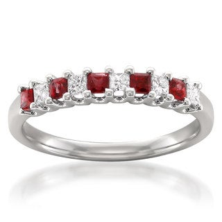 Montebello 14k White Gold Ruby and 1/5ct TDW White Diamond Wedding Band (H-I, I1-I2)