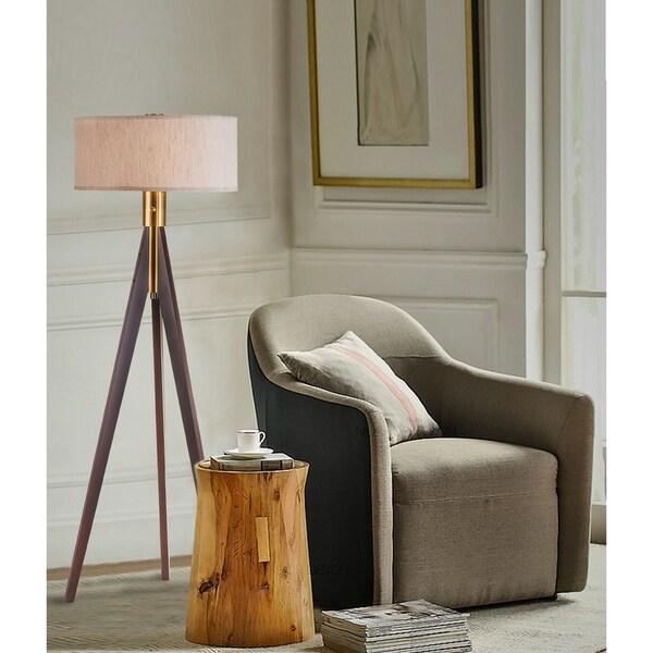 Modern Brown Wood Tripod Floor Lamp 58 Inch High
