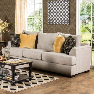Furniture of America Leslie Contemporary Beige Linen Sofa