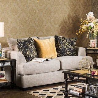 Furniture of America Leslie Contemporary Beige Linen Loveseat