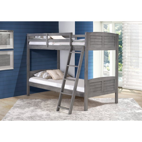 Pine Canopy Saponaria Kids Antique Grey Twin Over Twin Bunk Bed