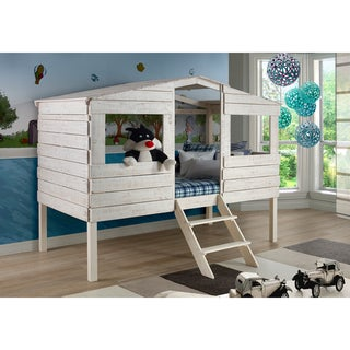 Donco Kids Rustic Sand Twin Tree House Loft Bed